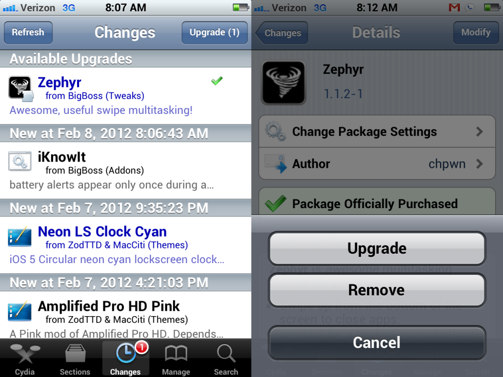 menu de changes de cydia
