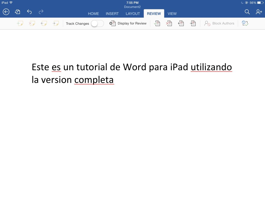 menu revisar de word para ipad