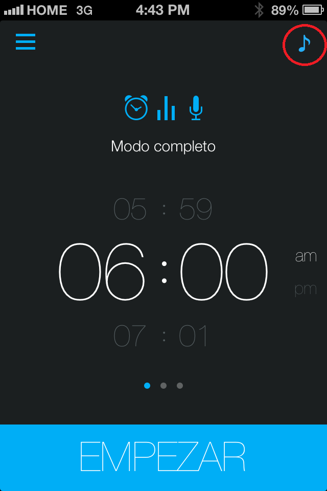 menu de musica de smart alarm clock