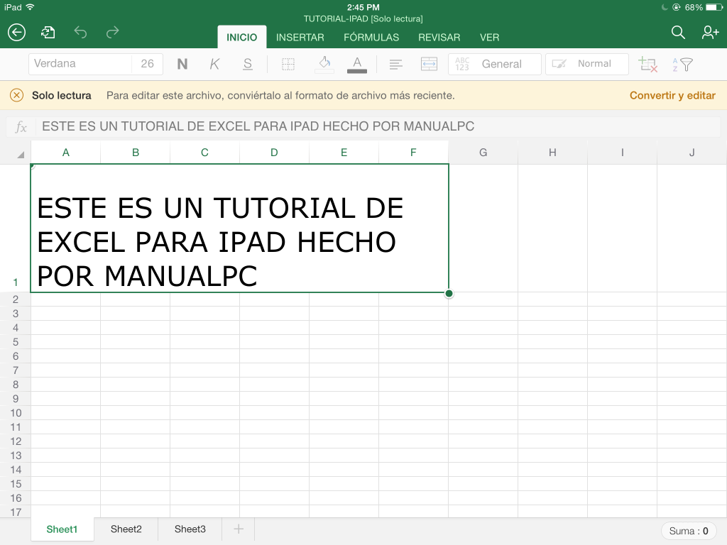 convertir documento en excel para ipad