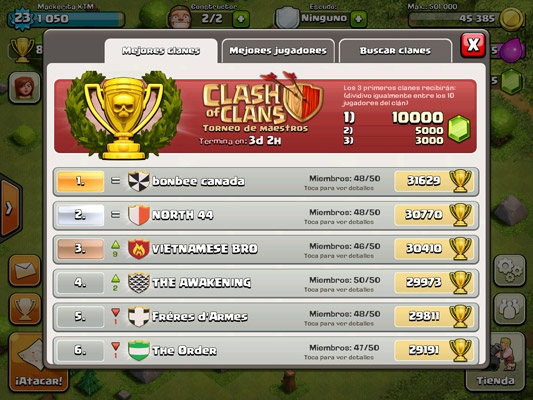 copas y trofeos clash of clans