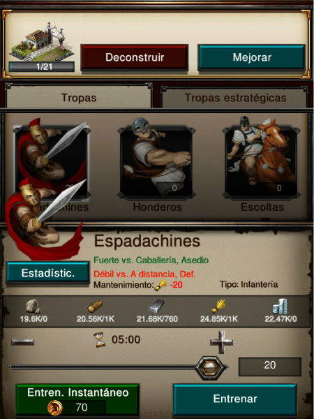 entranar tropas en game of war
