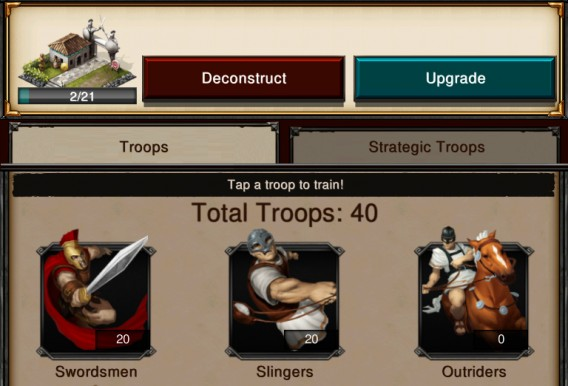 tropas normales game of war