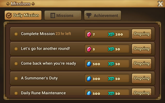 misiones diarias de summoners war