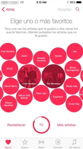 artistas favoritos de apple music