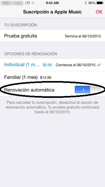 cancelar apple music